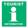 Logotype Grön bakgrund vit text Tourist Information