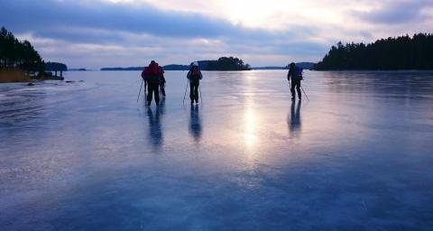 Skating on a lake in Hälsingland.