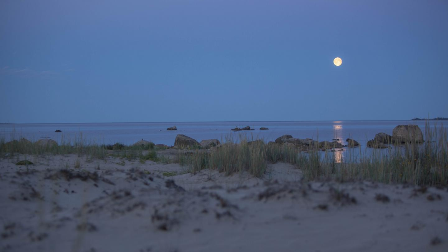 Full moon by the beach in northern Hälsingland.